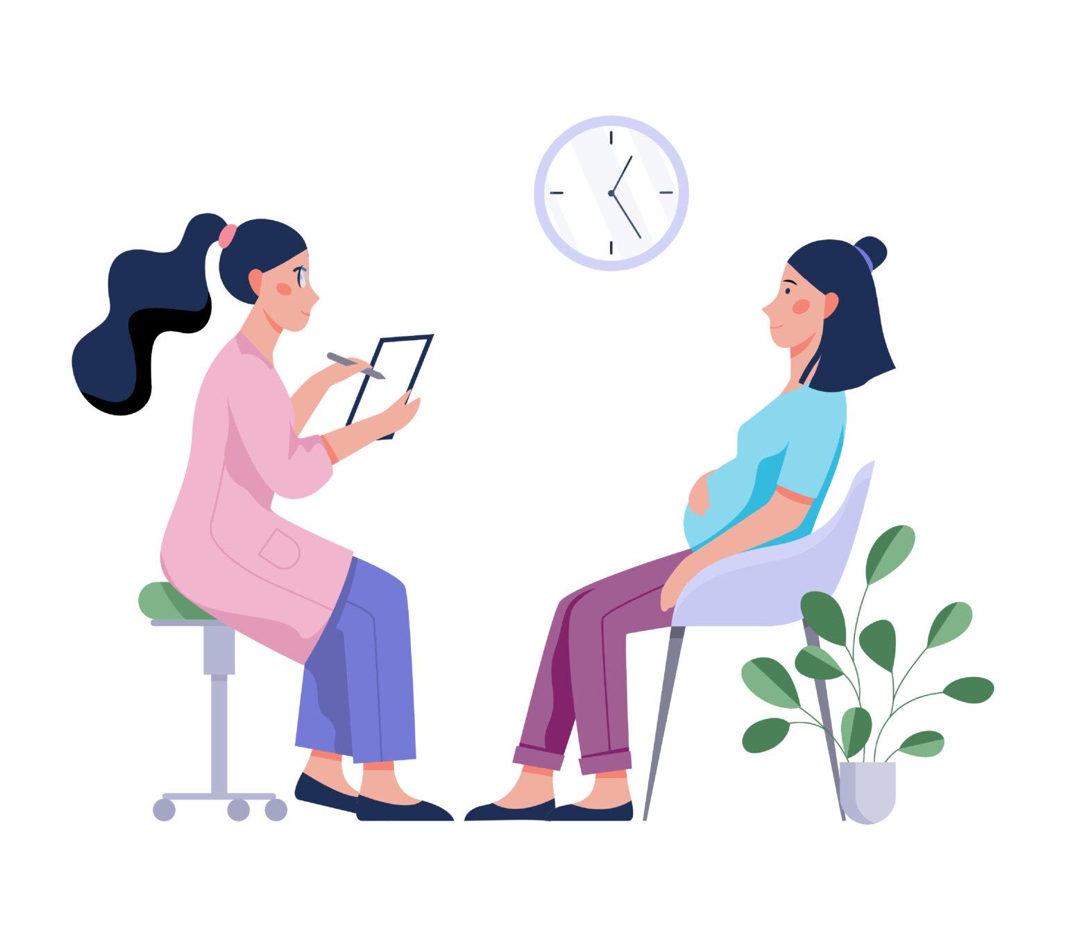 Illustration Beratung einer schwangeren Frau